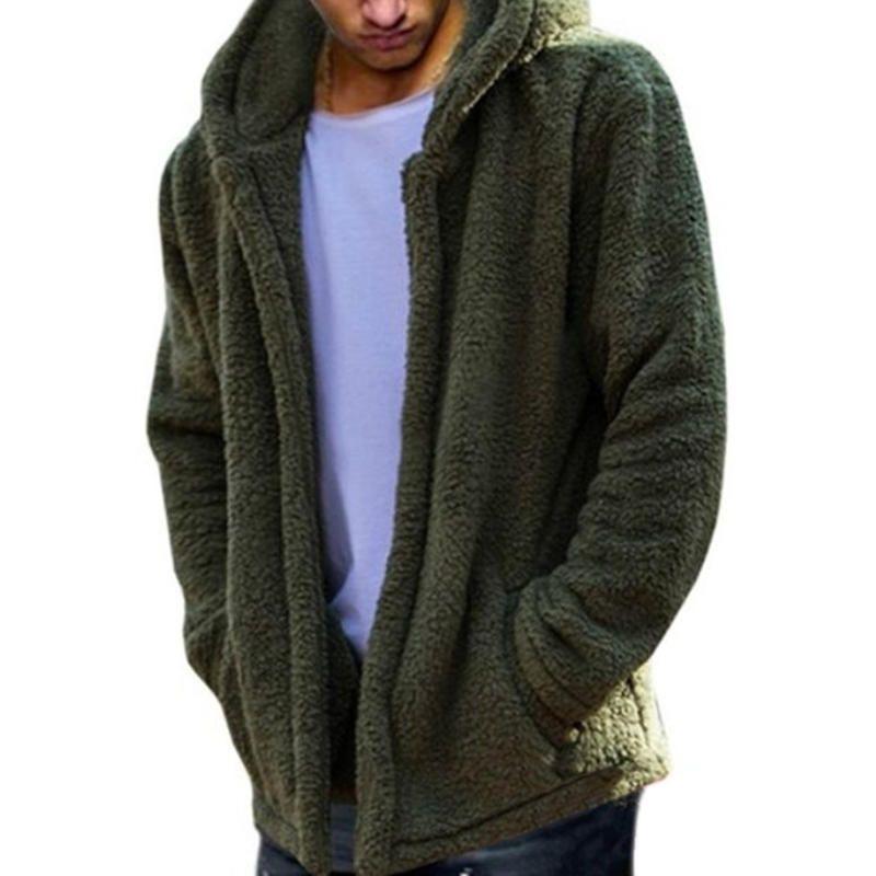 f266293f409 Mens Fashion Casual Fleece Warm Solid Color Hooded Coats - Banggood Mobile