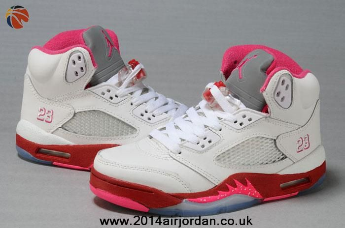 5096ccef660f5d New Women Air Jordan 5 White Red Pink