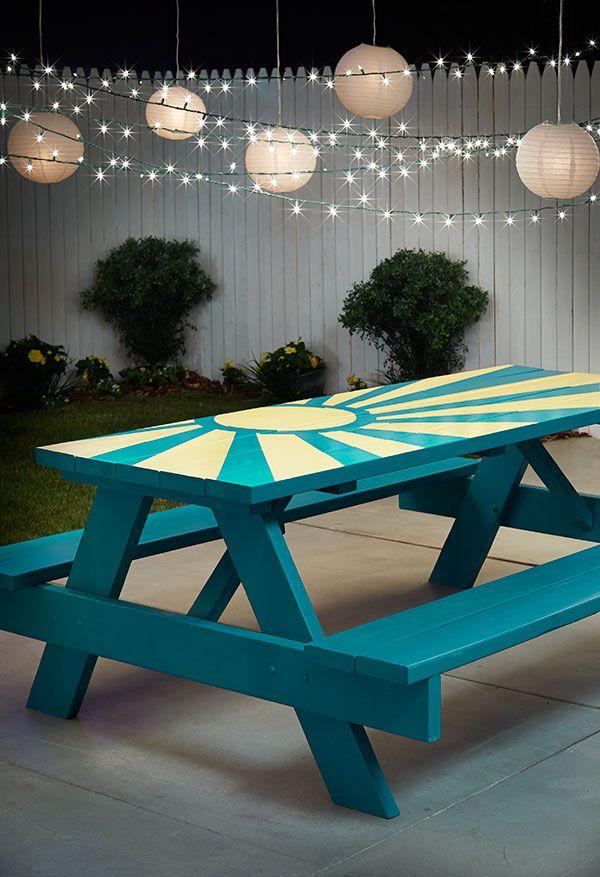 DIY Sunburst Painted Picnic Table All About Paint Pinterest - Teal picnic table