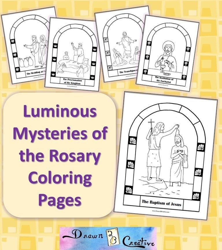 Free Printable Mysteries Of The Rosary Coloring Pages Drawn2bcreative Rosary Coloring Pages Catholic Coloring