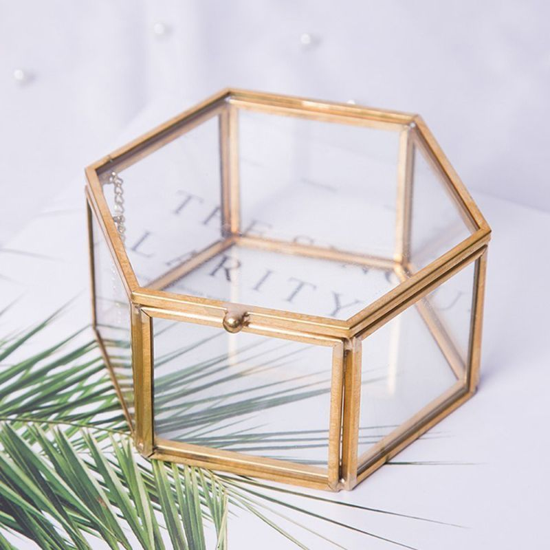 Glass Terrarium Jewelry Box House Shape Geometric Tabletop Succulent Plant Box