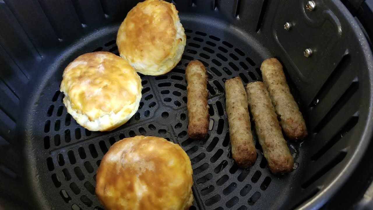 Air fryer from frozen biscuits sausage links breakfast