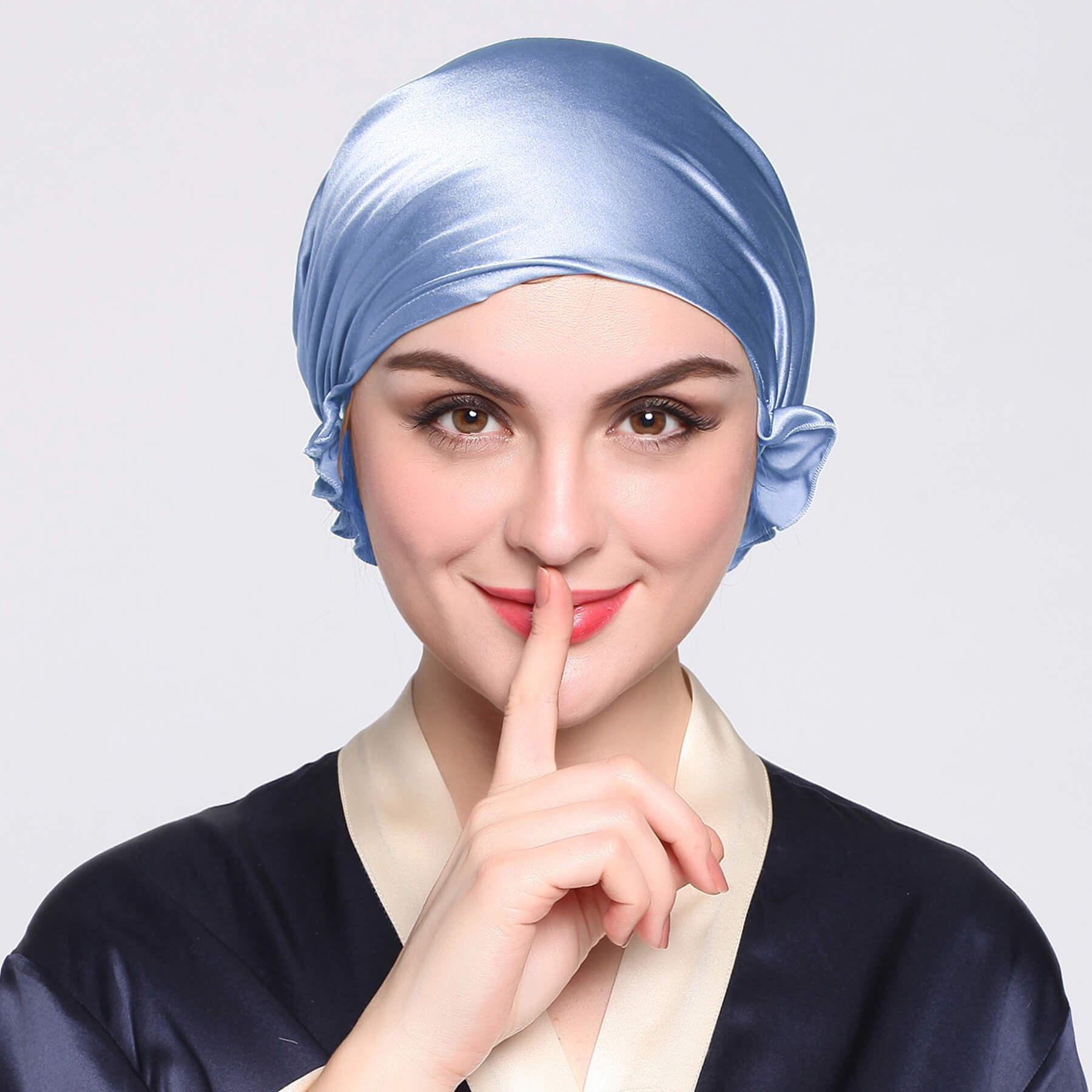 Silk Night Sleeping Cap with Ribbons in 2020 Silk head