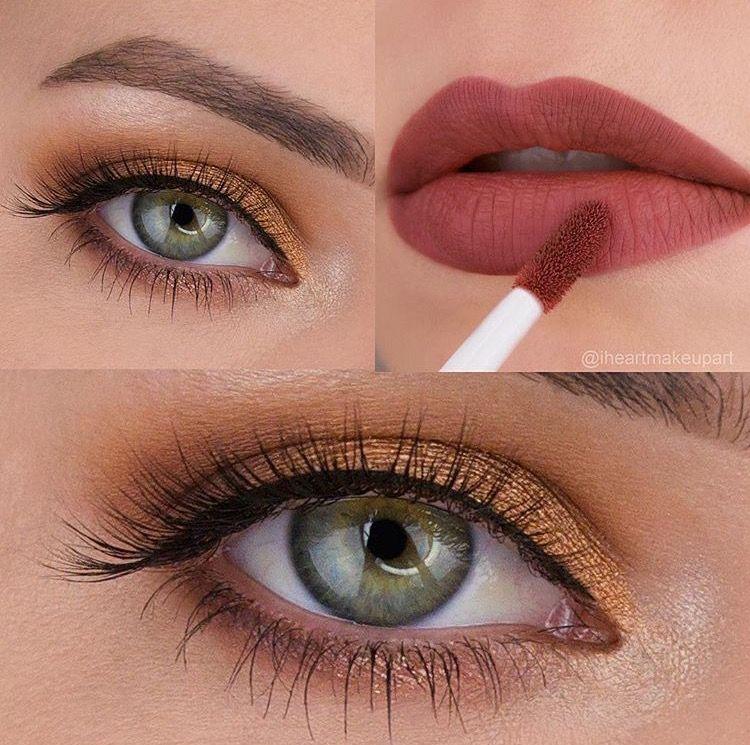 Green Eyes, Bronze Eyeshadow, Red Lipstick