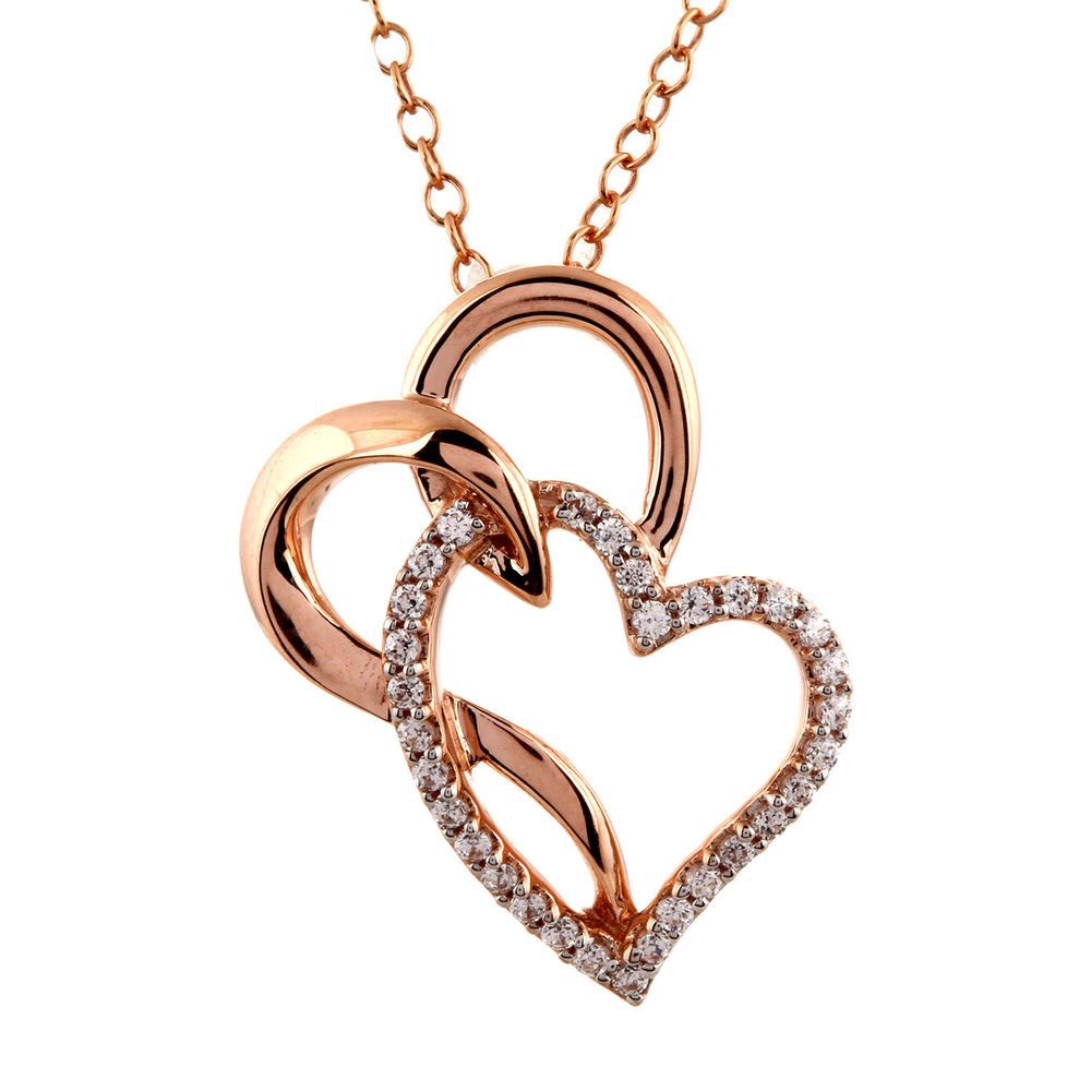 1 6 Ct Real Diamond Solid 10k Rose Gold Heart Pendant 16 Chain Valentine S Day Caratsforyou Penda Heart Pendant Gold Real Gold Jewelry Heart Pendant Diamond