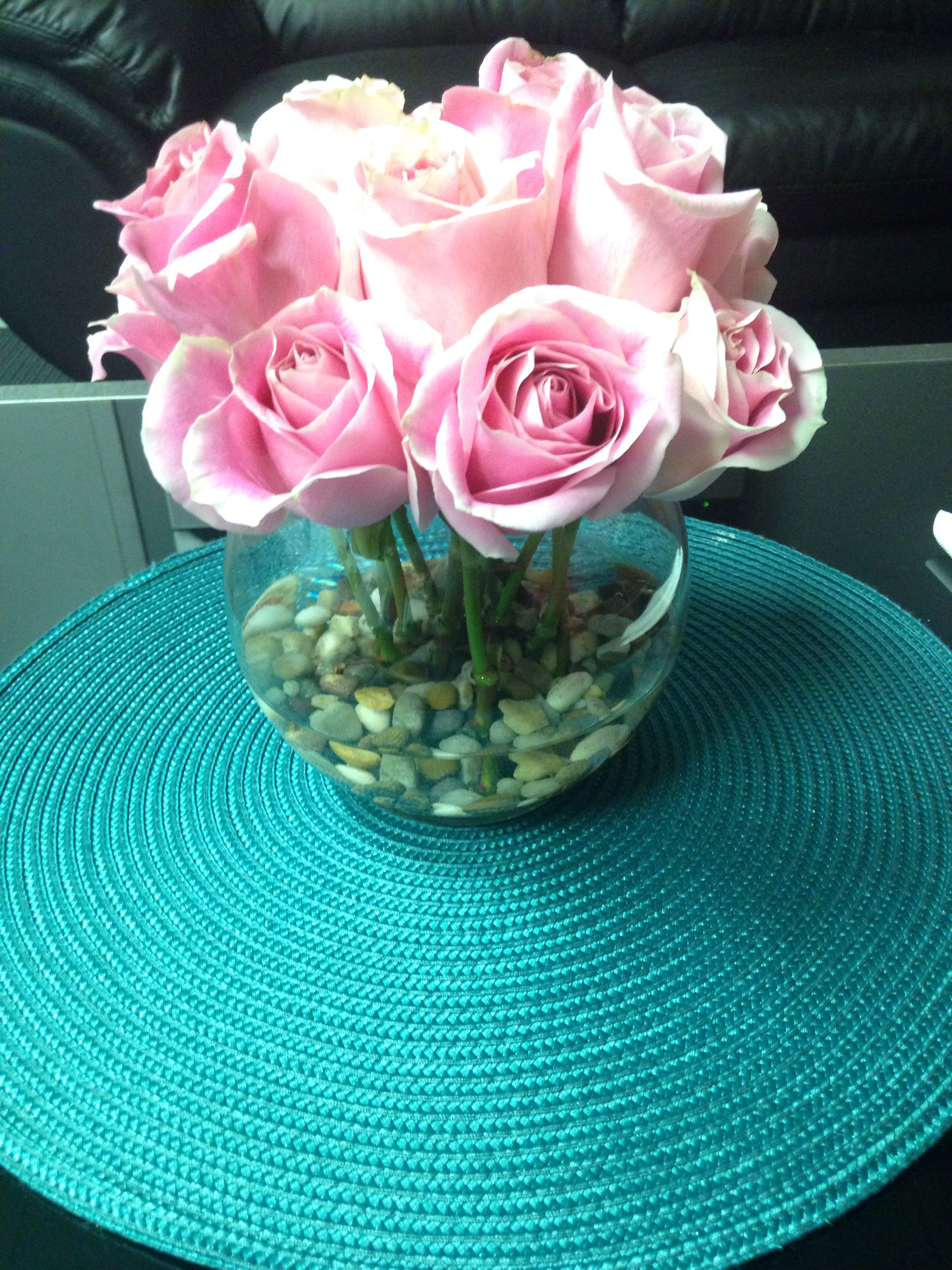 Center piece flowers i used a teal round place mat from