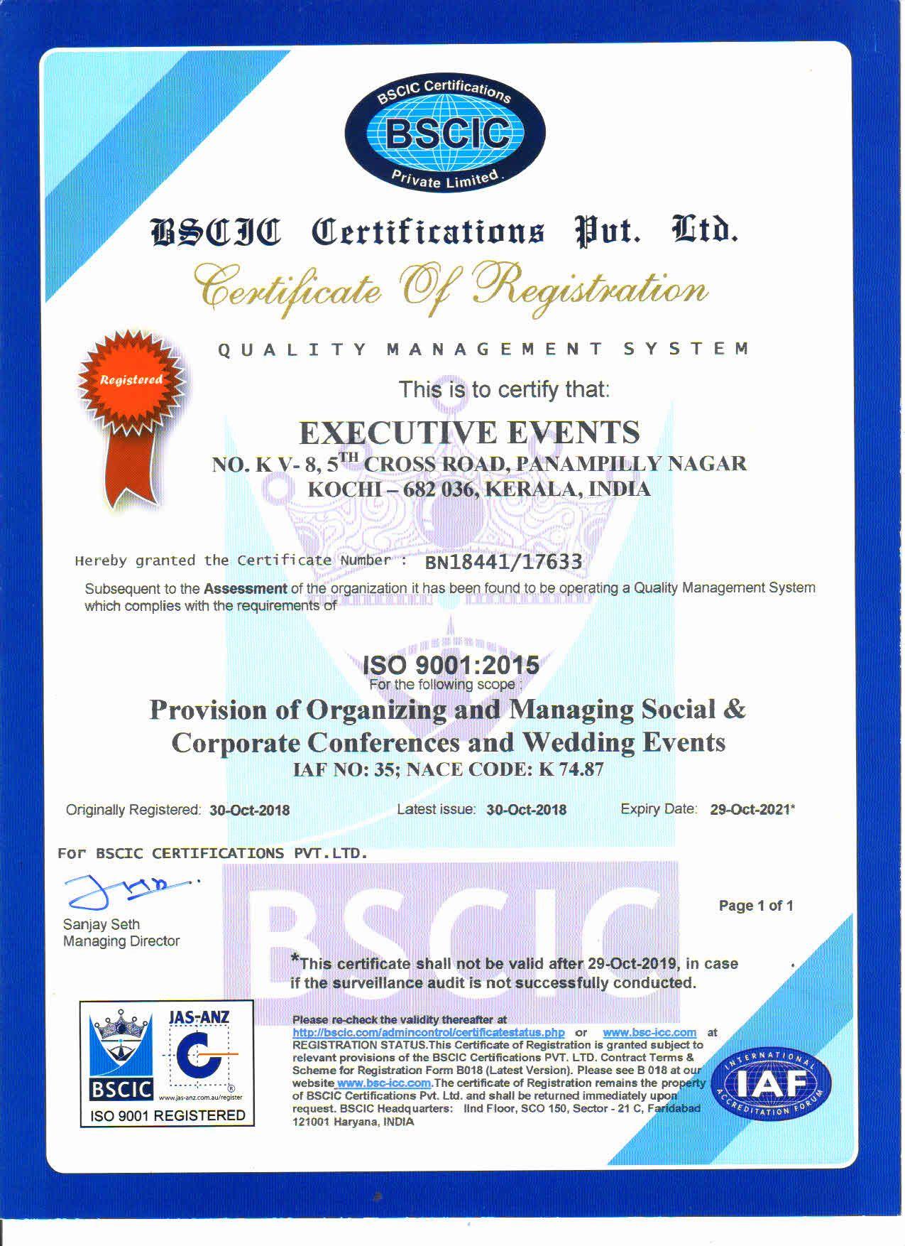 certificate event certification management bscic iso registration organization deposit