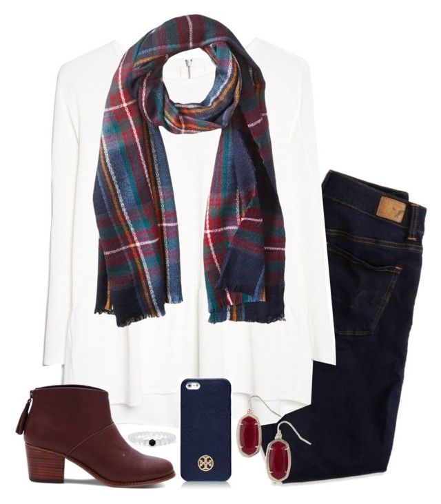 """Untitled #898"" by julesnewkirk ❤ liked on Polyvore featuring American Eagle Outfitters, MANGO, TOMS, David & Young, Tory Burch and Kendra Scott"