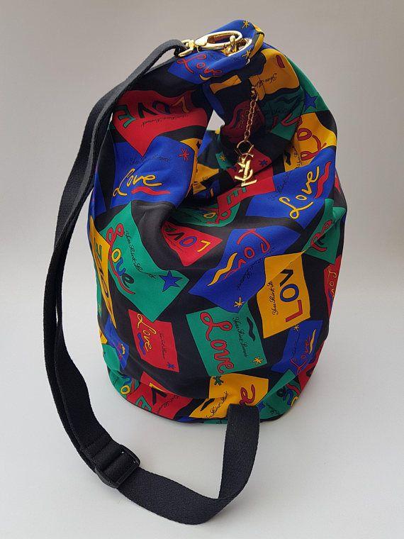 e8c76f12845f YSL Yves Saint Laurent Vintage Big Duffle Shoulder Bag   Backpack ...