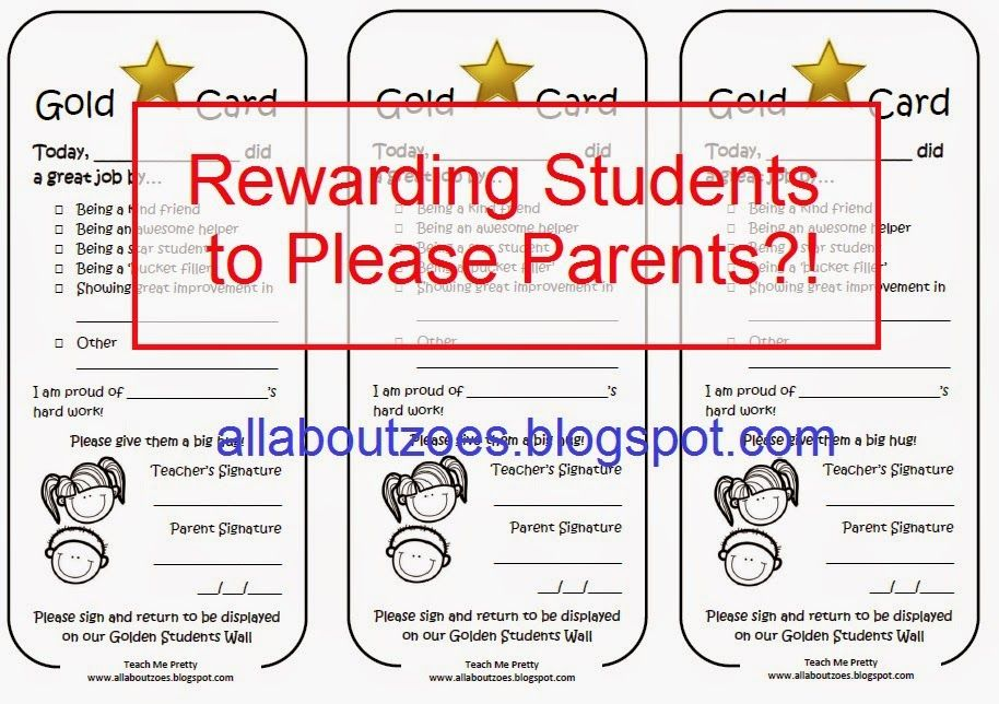 Free Printable Gold Card Award For Positive Student Behaviour