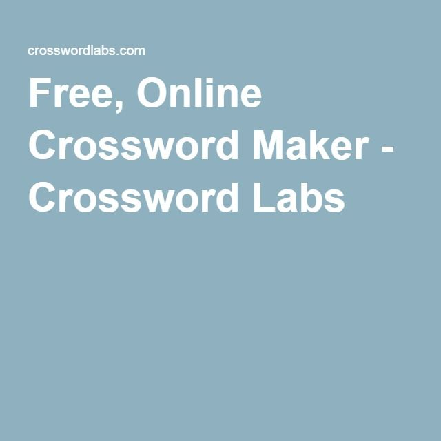 Kreuzworträtsel Generator Free, Online Crossword Maker - Crossword Labs | Crossword  puzzle maker, Puzzle maker, Crossword