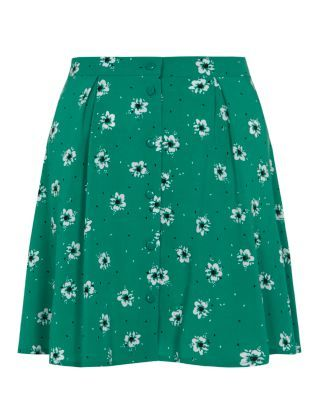 Turquoise (Blue) Teens Green Pansy Print Button Skater Skirt | 300436148 | New Look