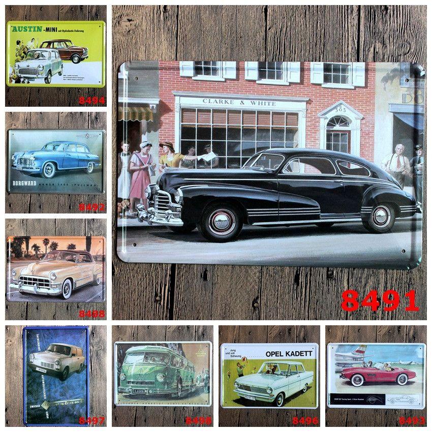 Vintage Car Lovers Distressed Rustic Metal Tin Art Wall Signage ...