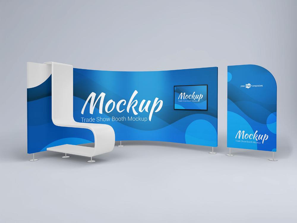 Free 3d Trade Show Booth Display Mockup Psd Set Good Mockups Tradeshow Booth Tradeshow Booth Display Display Mockup