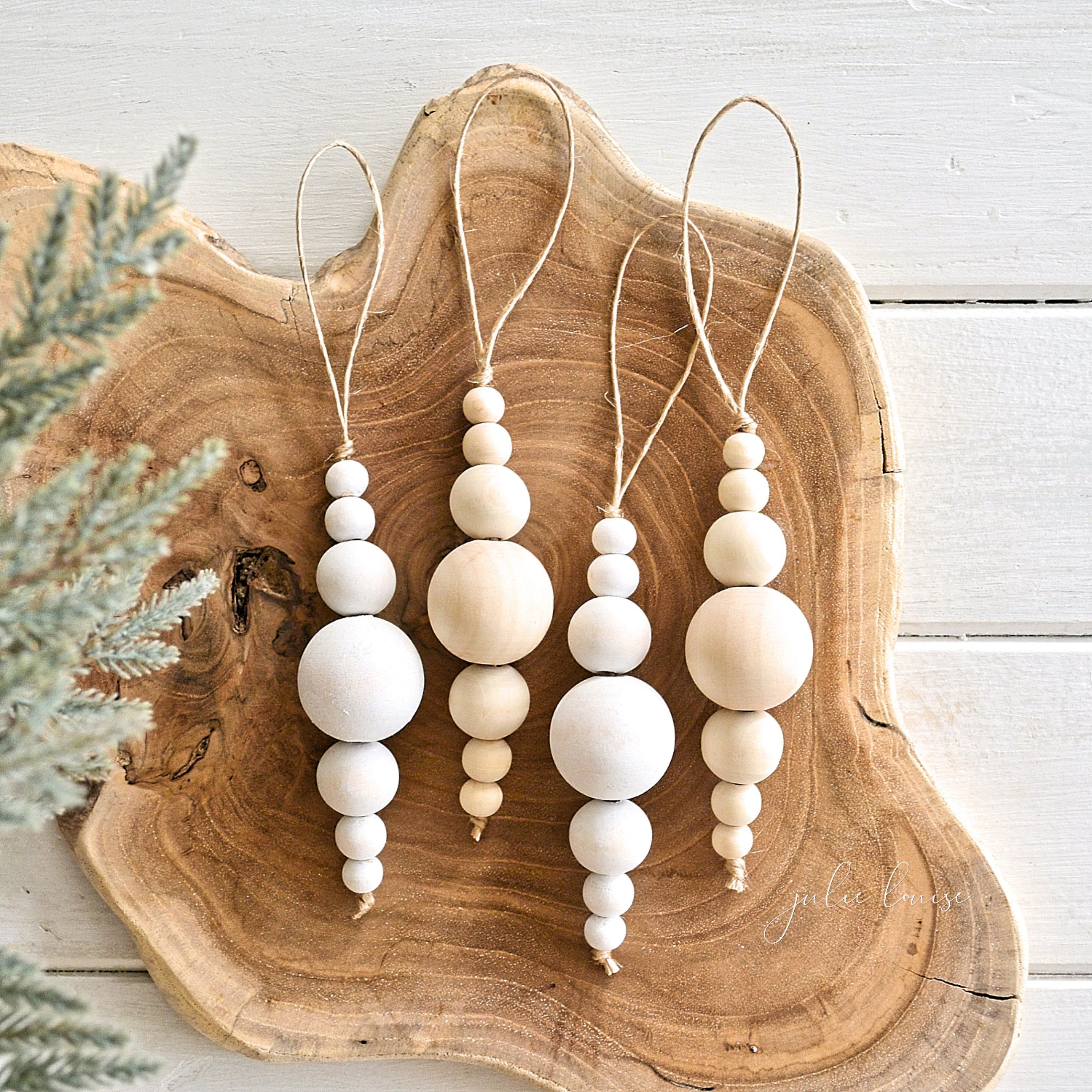 Wood Bead Christmas Bauble White or Natural Decoration Home Decor Farmhouse Tree Decorations Boho Rustic 30mm Beads EcoFriendly Julie Louise #christmasornaments