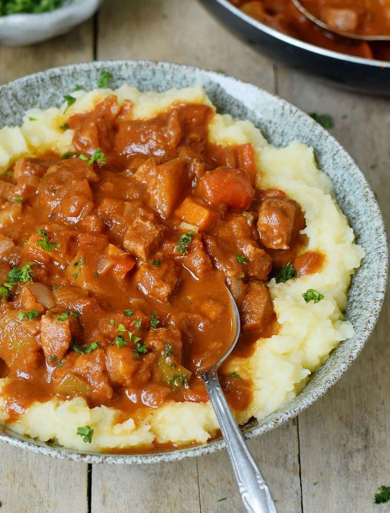 Photo of Vegan goulash recipe with mashed potatoes simple ragout …