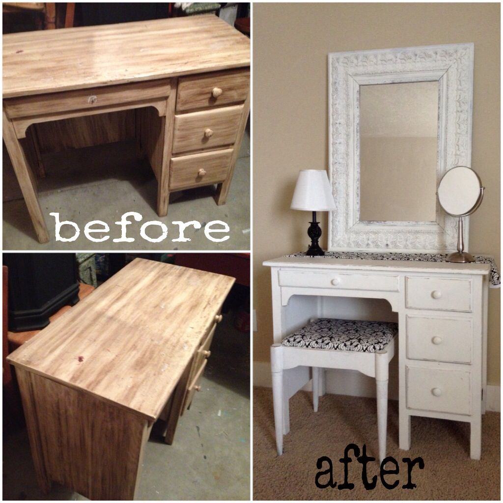 Old desk turned into super cute vanity simply for Cute makeup vanity