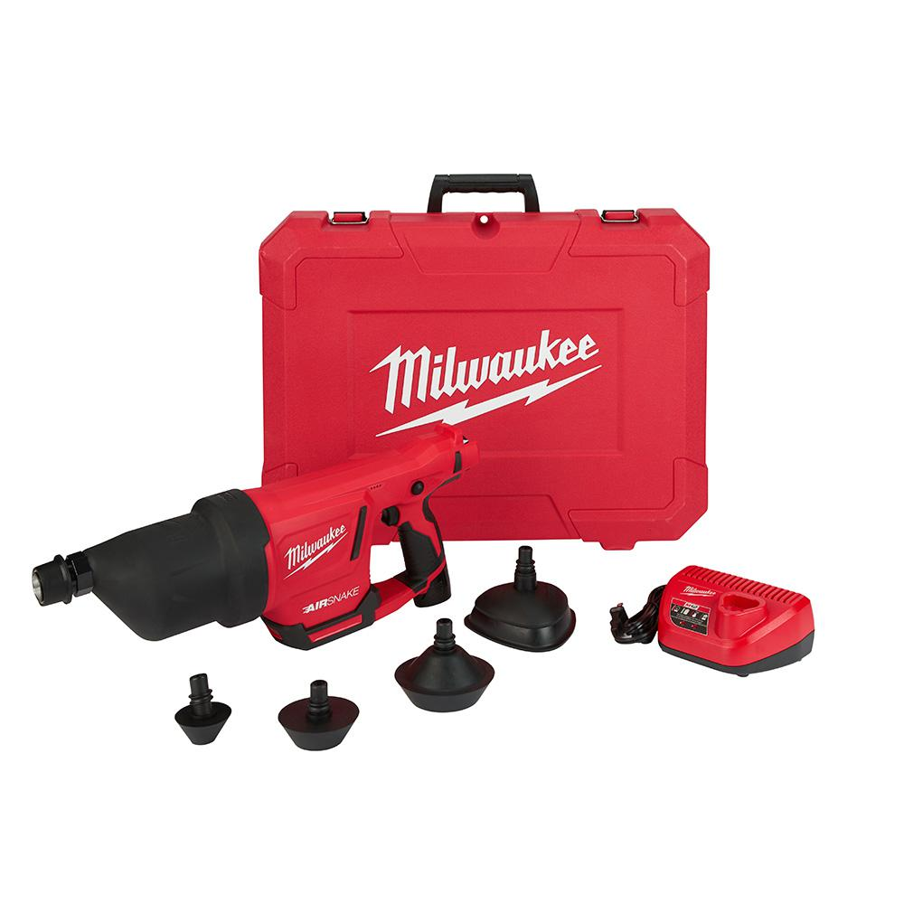 M12 12 Volt Lithium Ion Cordless Drain Cleaning Airsnake Air Gun Tool Only W 1 2 0ah Battery Charger Attachments