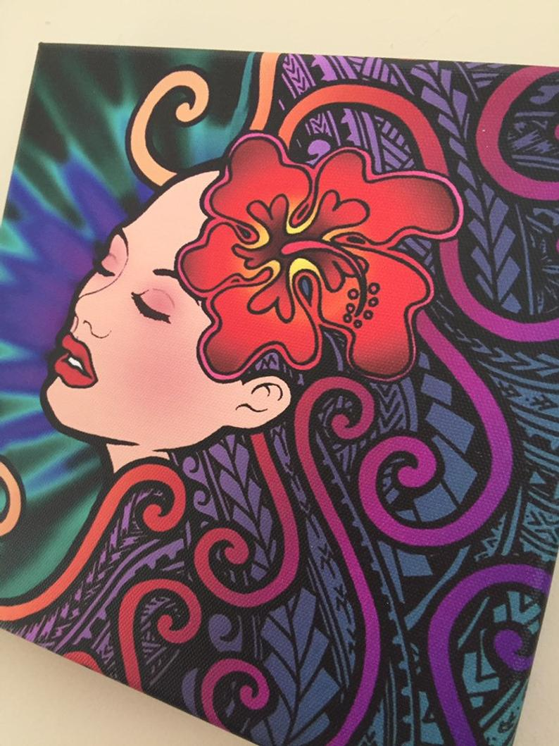 Polynesian Beauty Samoan Maori Art On Canvas Etsy Maori Art Polynesian Art Painting Art Projects