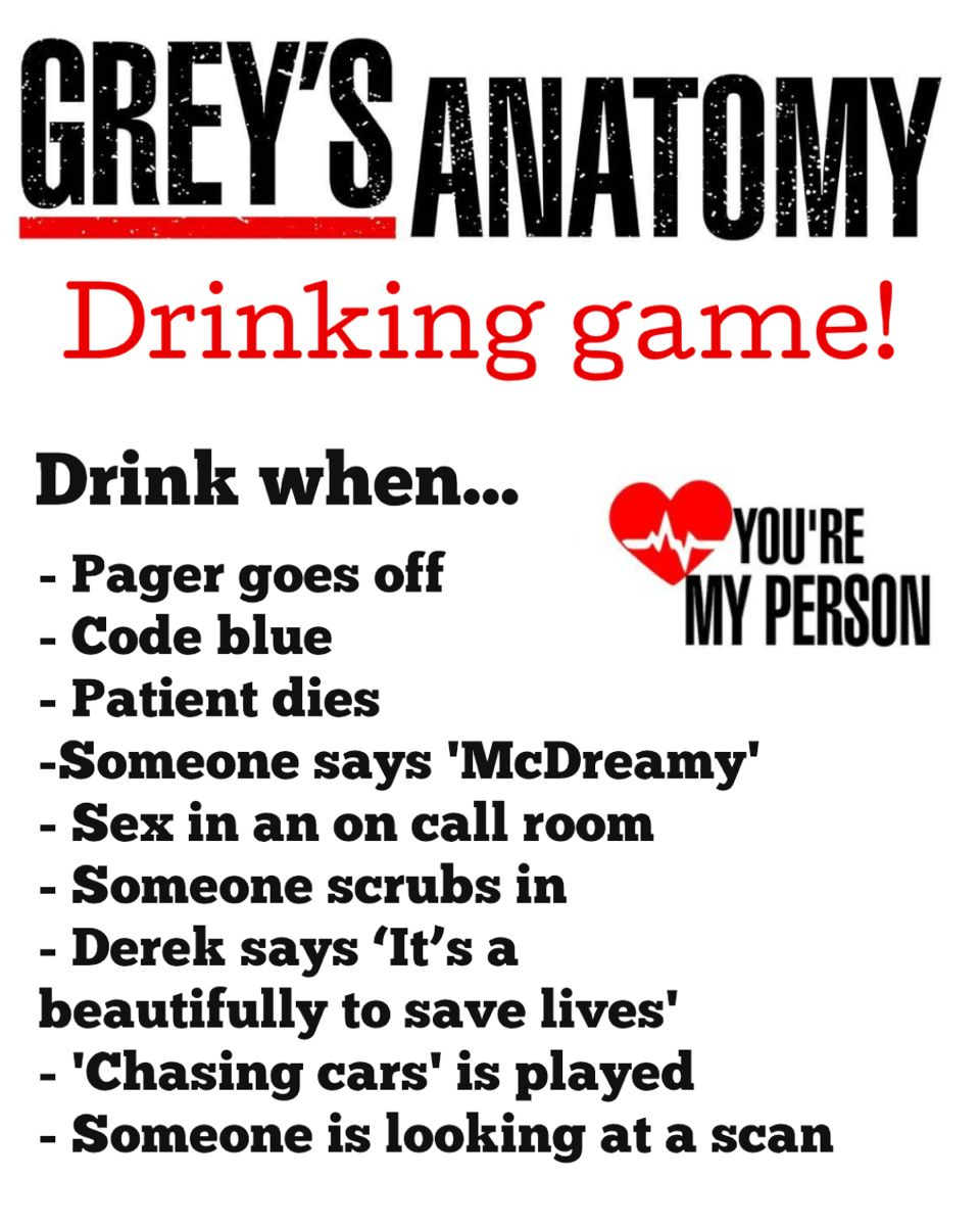 'Greys Anatomy' Drinking game in 2020 Drinking games, Tv