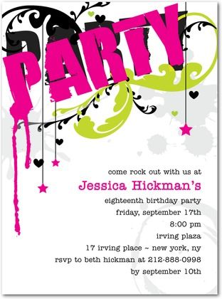 Teen birthday party invite for tiny prints invitationdesign rockstar chic teen birthday party invitation for tiny prints filmwisefo Images