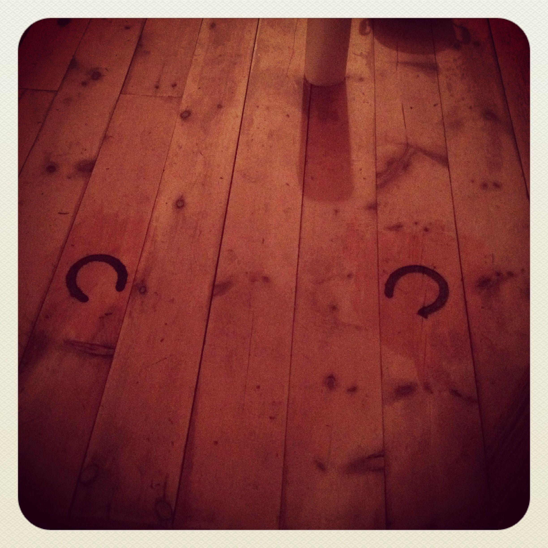 Bedroom floor! Horseshoes in the hardwood.