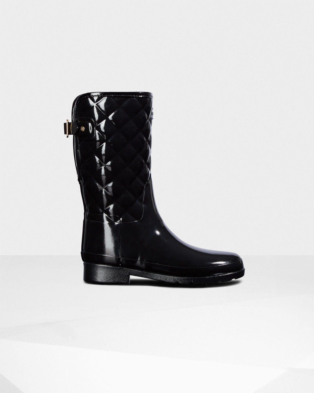 c4822895710139 Hunter Women s Original Short Refined Quilted Gloss Rain Boots - Black Us 11