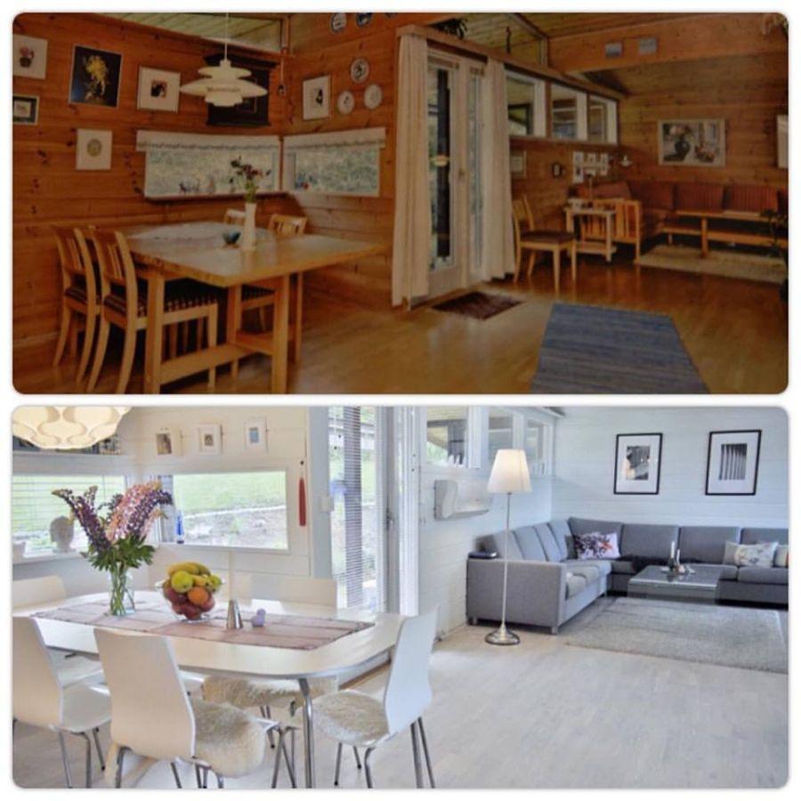 Before and after pictures from our livingroom  -  Før- og etterbilder av stua. Les mer på bloggen