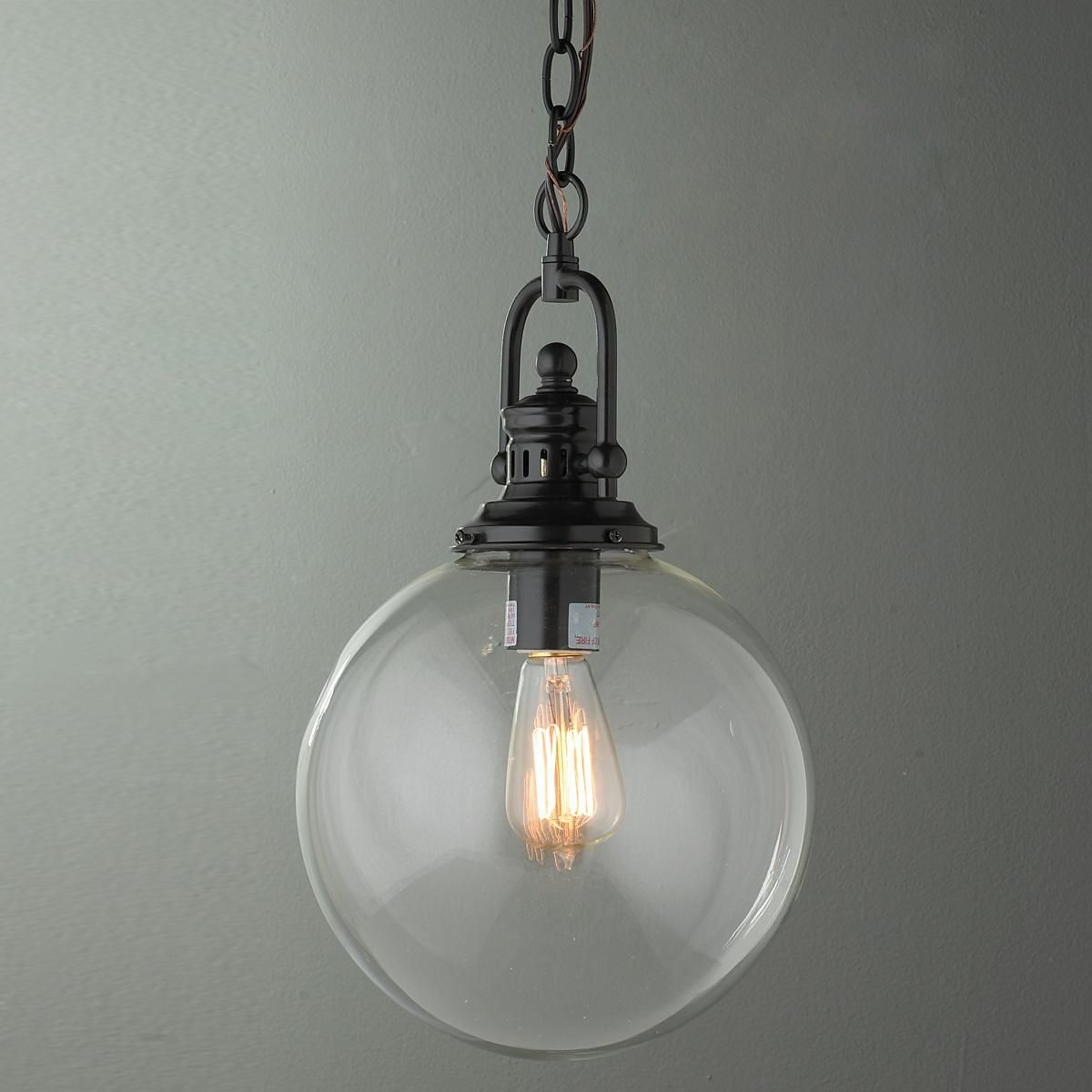 Glass Pendant Lights For Kitchen Island: Clear Glass Globe Industrial Pendant
