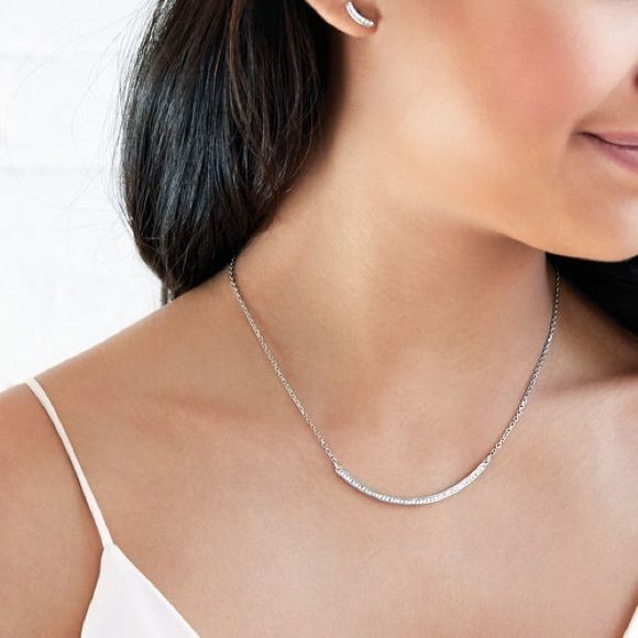 """LAST CALL❗️Chloe + Isabel Pave Curved Bar Necklace WAS $27❗️Chloe + Isabel Pave Curved Bar Necklace ** Display sample ** Shiny-rhodium plating ** Nickel-free and lead safe ** 16"""" approx. length + 2"""" extender ** Lobster clasp **Clear crystal pave ** Comes with canvas gift bag like the one in last picture ** Matching earrings also available Chloe + Isabel Jewelry Necklaces"""