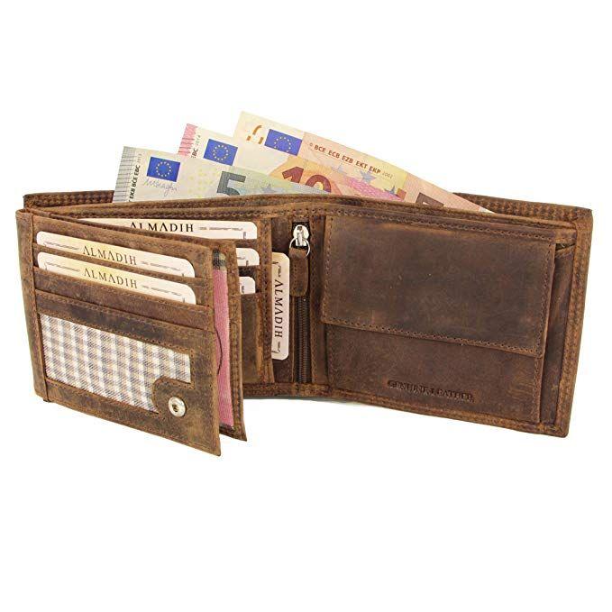 099f75520bd7d ALMADIH ® Premium Leder Portemonnaie querformat 15 Kartenfächer in  Geschenkbox P2Q braun Vintage Rinsleder Herren Damen