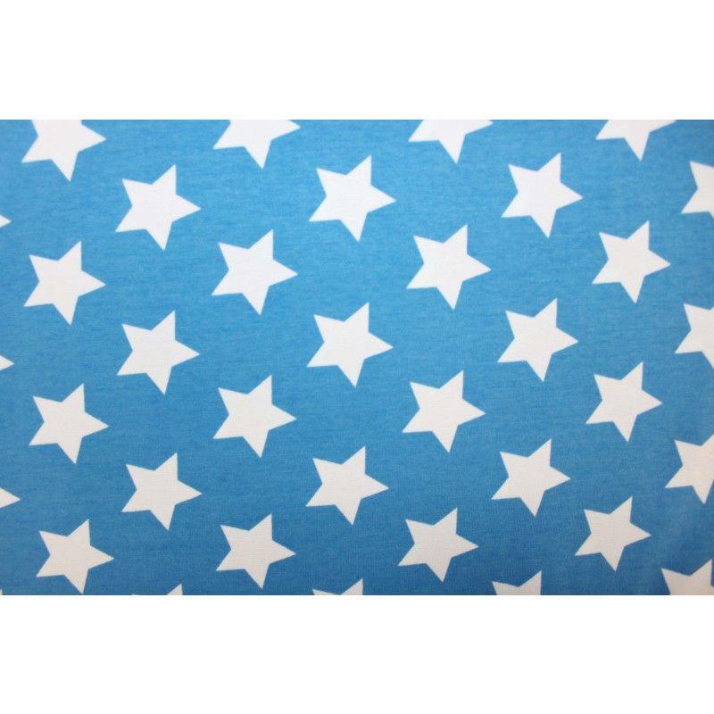Jny Design: Kuviollinen trikoo (sininen pohjalla valkoinen tähti)  *Muutkin tähti kankaat käy