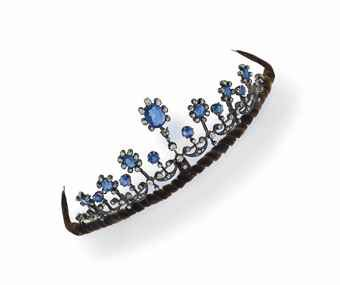 A sapphire and diamond tiara/necklace