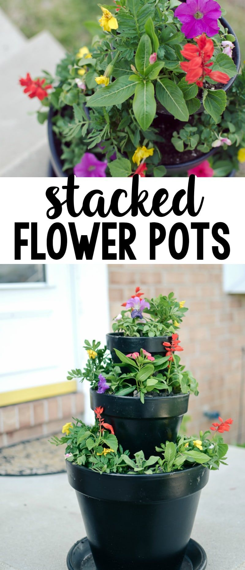 DIY Stacked Flower Pots A Grande Life Stacked flower