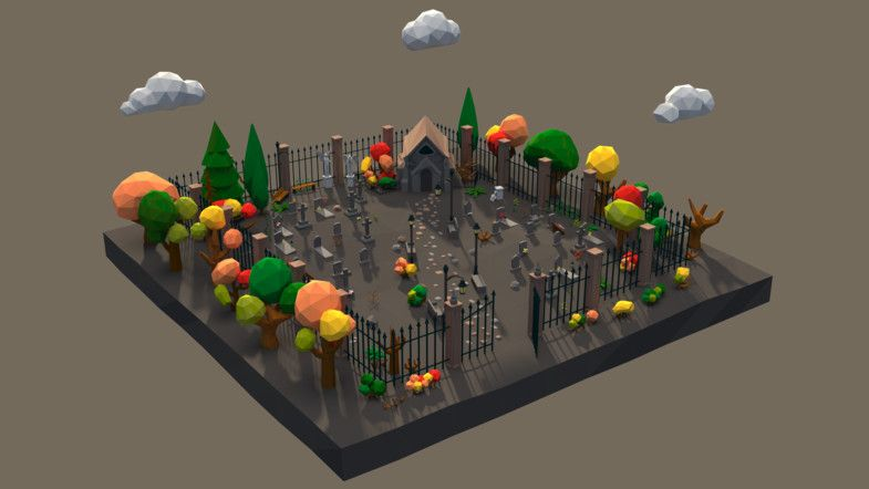 Low Poly Cemetery Scene Assets #Cemetery#Poly#Scene