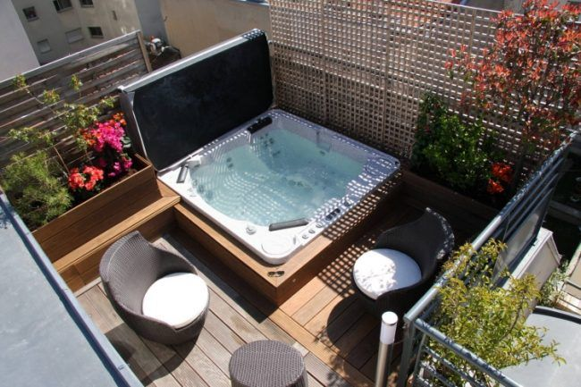 whirlpool im garten einbau wpc dielen grundlage gitter sichtschutz pool in 2019 pinterest. Black Bedroom Furniture Sets. Home Design Ideas