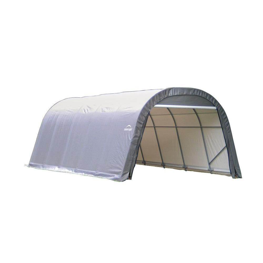 Sheltercoat 12 X 24 Ft Wind And Snow Rated Garage Round Gray Std Pool Supplies Storage Shed Storage Shelters