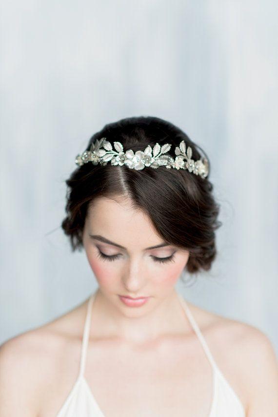 3fa74fb9689d9 Silver Leaf Crown, Gold Leaf Headband, Gold Flower Halo, Laurel Leaf ...