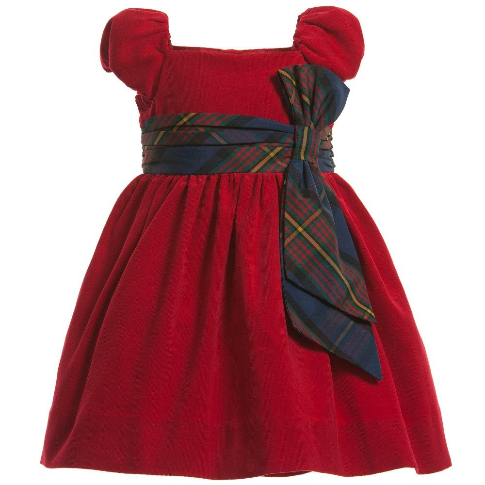 Ralph Lauren Red & Tartan Cord Dress with Bloomers at Childrensalon.com