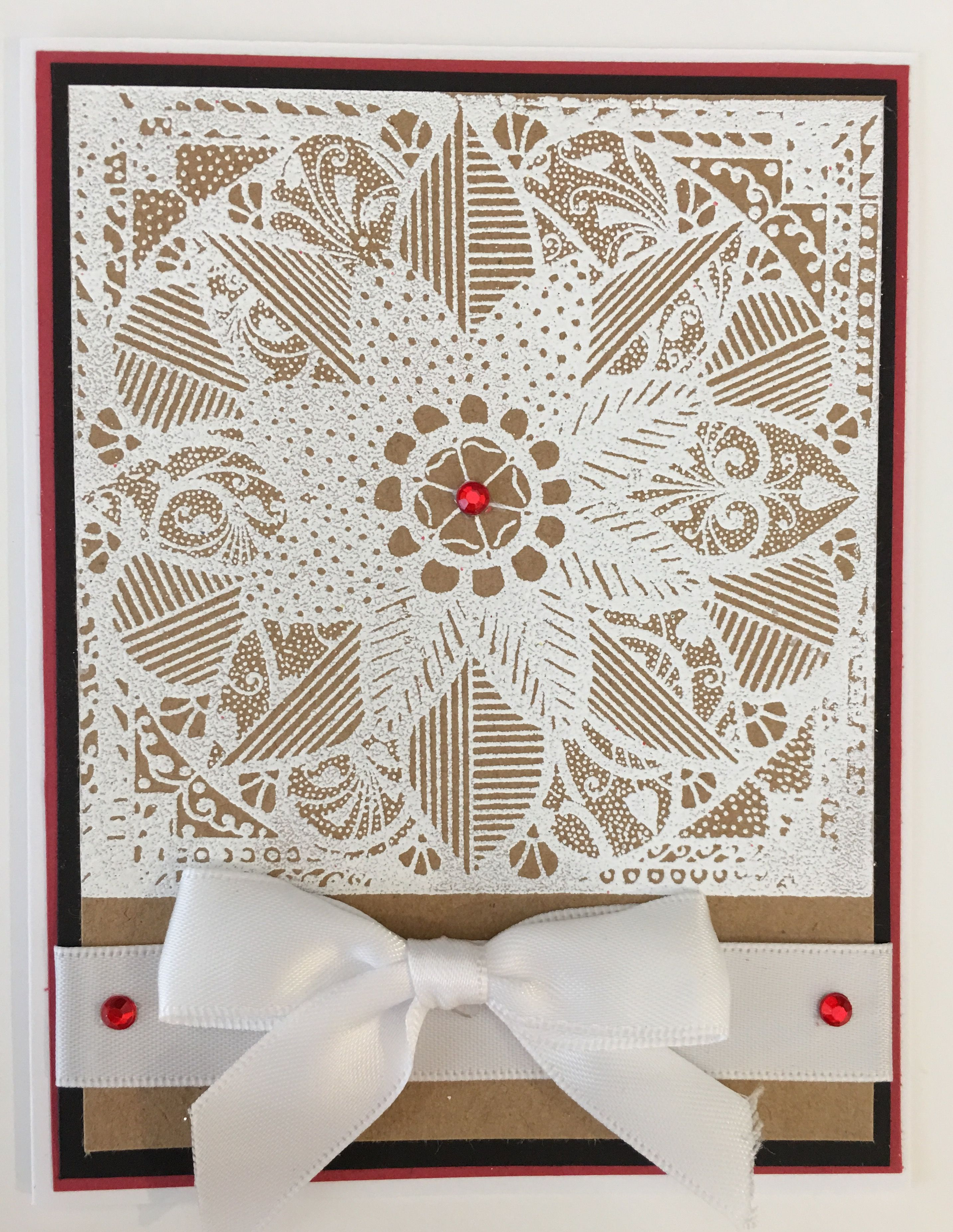 Cby Handmade Christmas Greeting Card With White Wet Embossed