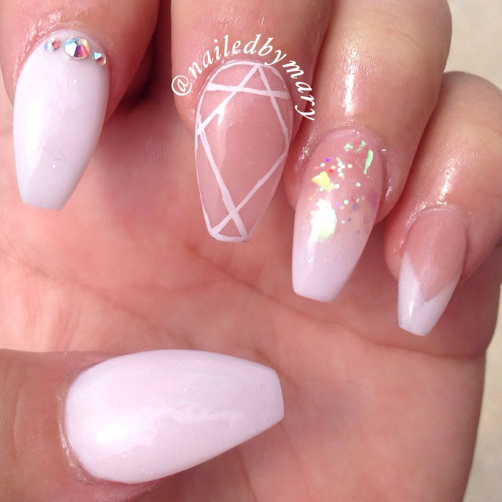 White nude Swarovski crystals acrylic coffin nails | Nailed by Mary ...