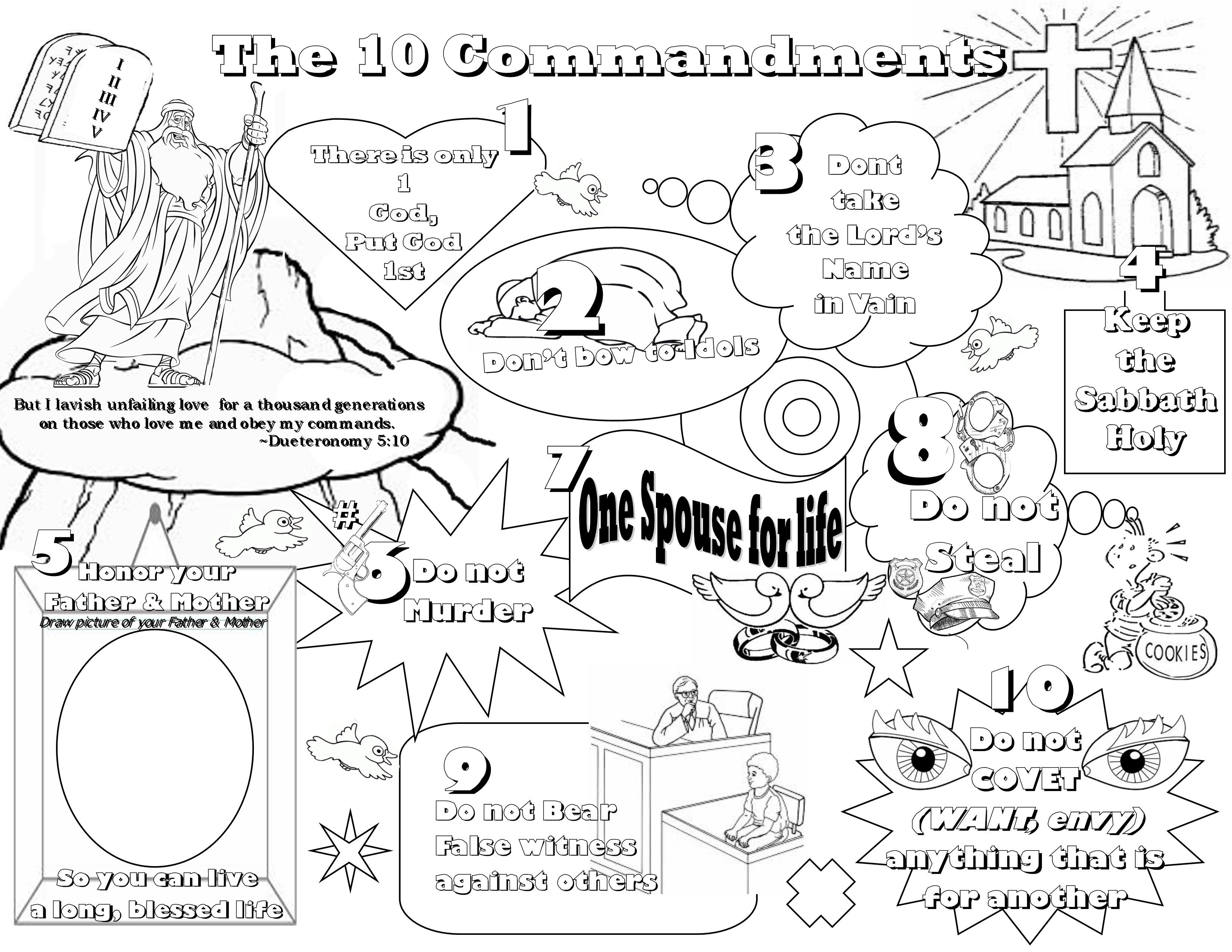 Exquisite Free Printable Ten Commandments Coloring Pages Do Not
