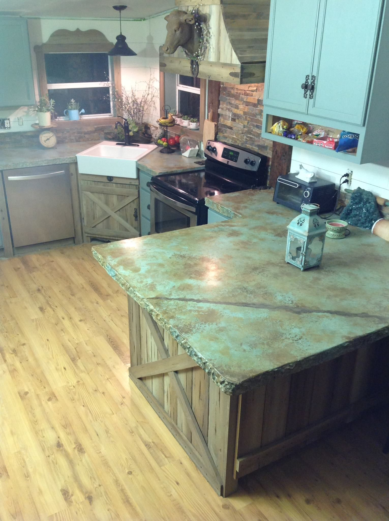 blue kitchen countertops small lamps for counters concrete acid stain photo gallery home ideas kitchens