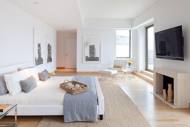 Schlichte Einrichtung mit trendy Look-weiße Wände mit gerahmten - wandfarbe schlafzimmer weisse möbel