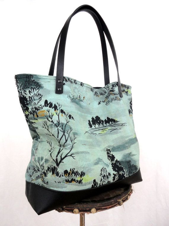OVERDYED ANTIQUE BARK Cloth Tote Bag with Black by TnBCdesigns