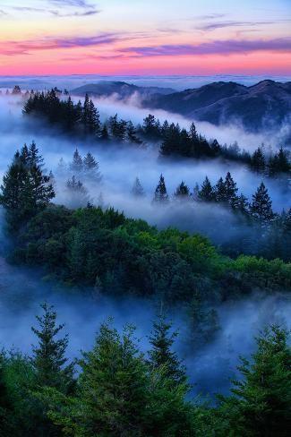 'Land of Dreams and Fog, Sunset Over San Francisco Bay Area Hills' Photographic Print - Vincent James   Art.com