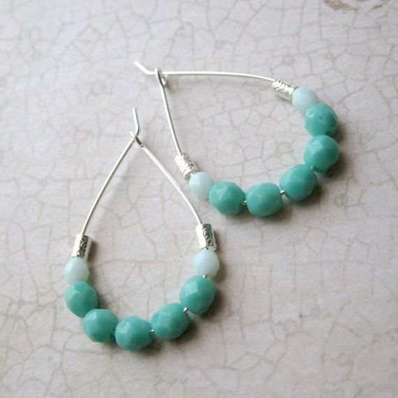 Photo of Items similar to Beaded Hoop Earrings – Turquoise Earrings – Silver Hoops – Teardrop – Beaded Earrings – Gift Under 15 – Bridesmaids Jewelry on Etsy