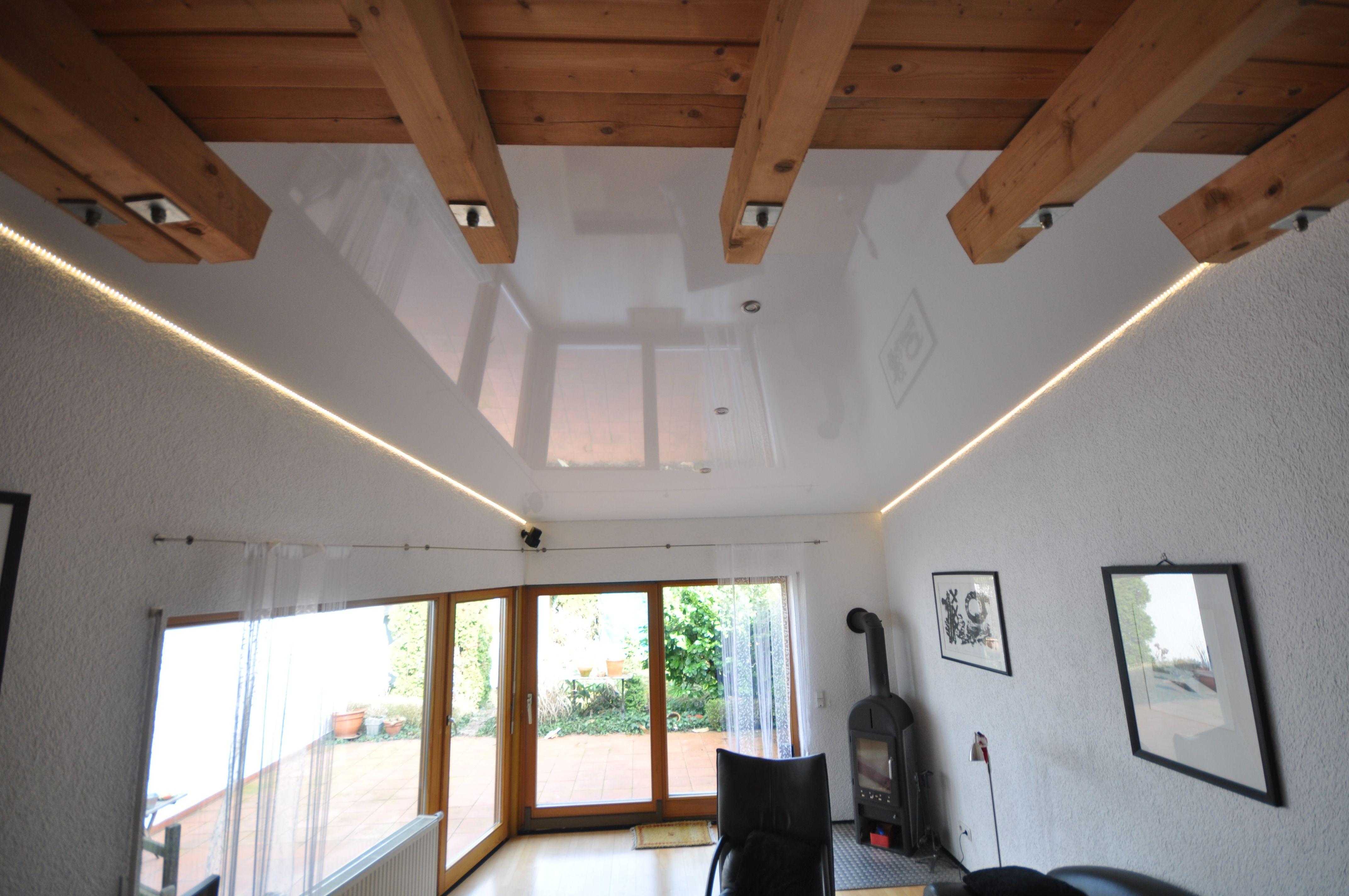 Spanndecke Weiß Hochglanz Mit LED In Der Schattenfuge #wohnzimmer#einrichtung#decke  #renovieren