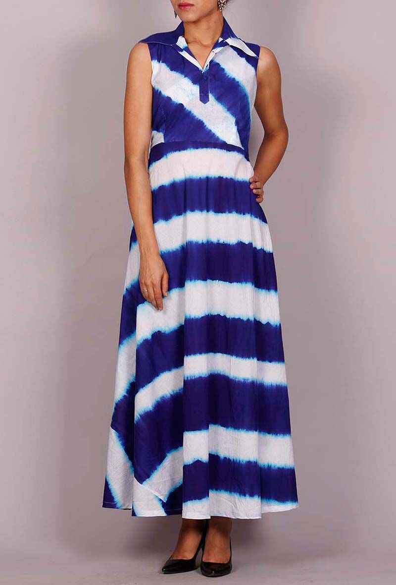 b89866352d57 Tie   dye maxi dress Color  Blue   white Material  Cotton Finish   Hand-crafted Inspiration  Clamp Dye
