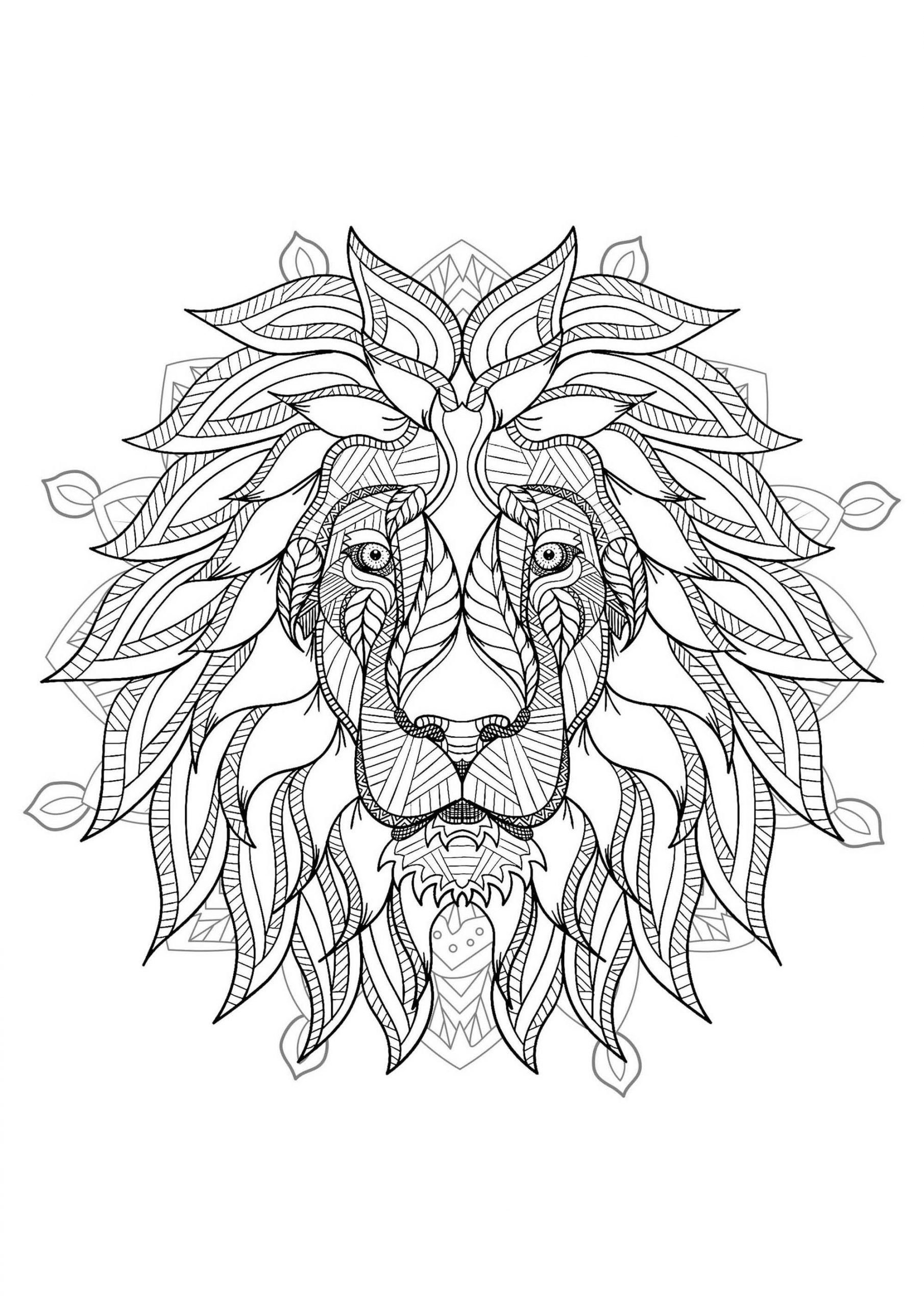 Lion Mandala Coloring Pages Plex Mandala Coloring Page With Majestic Lion Head 2 Lion Coloring Pages Mandala Coloring Pages Geometric Lion